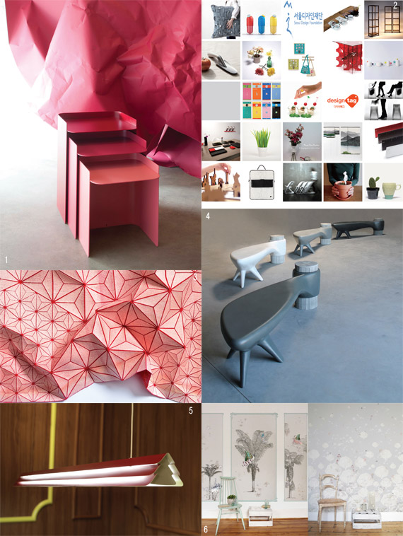 1 FLOR, Beaverhausen, MATI&#200RE GRISE, ⓒ Pierrick Verny 2 DESIG NTAG_21 young designers and design companies, ⓒ Seoul Design Foundation 3 Textile by Mika Barr, Mika Barr, ⓒ Leonid Padrul, Eretz Israel Museum, TelAviv 4 Ak&#232ne, Binome, ⓒ Binome 5 Gable by Jarrod Lim, INNERMOST 6 Wallpapers, Elli Popp Designs by Katja Behre, ⓒ Elli Popp