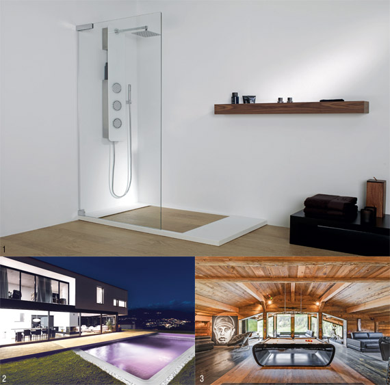 1 Parker shower tray, Porcelanosa, ⓒ PORCELANOSA 2 FLOWER POWER POOL, Barbara Fl&#252gel 3 BlackLight billiard table, Billards Toulet